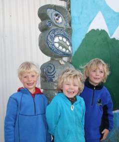 From left: Jonty Craig, 4, Tamati de Wildt, 4, and Maui de Wildt, 5, stand by Mayfield Kindergarten's new protector ...
