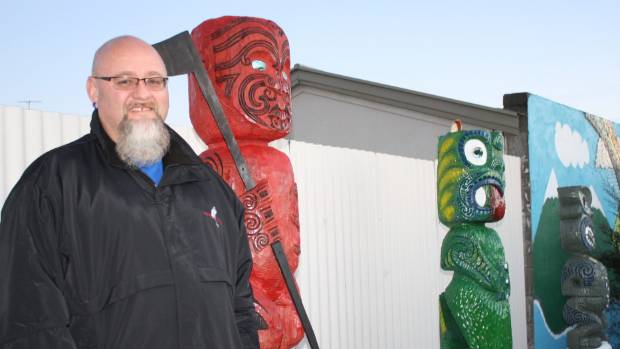 Paora Mackie is the artist behind the pou whenua unveiled at Mayfield Kindergarten on Monday.