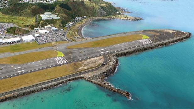 A computer-generated image of a Wellington Airport runway extension.