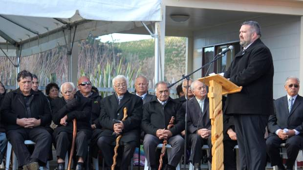 Tuwharetoa Settlement Trust chairman Dylan Tahau speaking at Rongomai Marae on Tuesday during the official purchase of ...