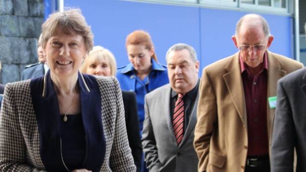 Former PM Helen Clark arrives at Auckland Region Women's Corrections Facility with prison officers and representatives ...