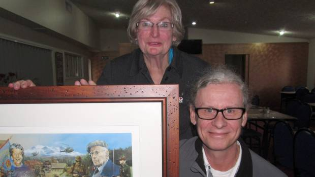 David Blyth and Patricia Stroud with a picture of David's grandfather Lt Col 'Curly' Lawrence Blyth. This started their ...