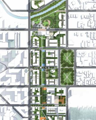The master plan for Christchurch's planned east frame showing, the city blocks to be rebuilt.