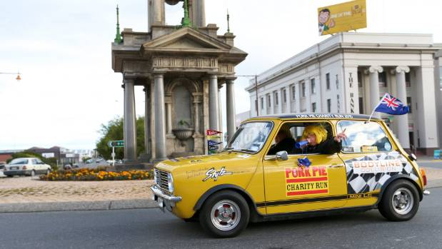 A mini drives through Invercargill as part of the Pork Pie Charity Run on Wednesday.