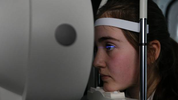 Ciara Moriarty, pupil at St Catherine's College, Wellington, has her eyes scanned with a pentacam as part of world-first ...