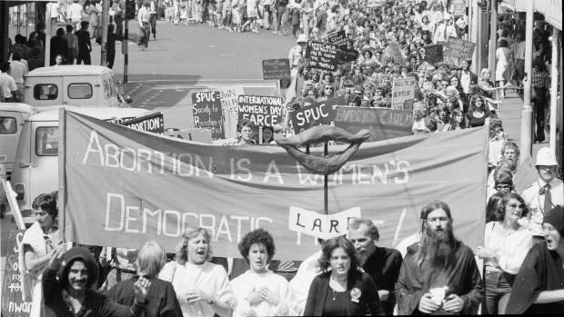 Pro-choice activists march through Wellington streets on International Women's Day, 8 March 1978.