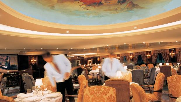 A sense of occasion prevails in the Grand Dining Room, one of a variety of restaurants on board.