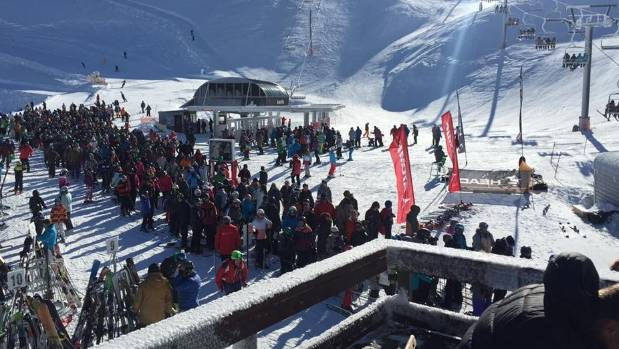 About 3000 skiers and boarders travel to Mt Hutt each winter weekend. This picture shows the queue after a chairlift had ...