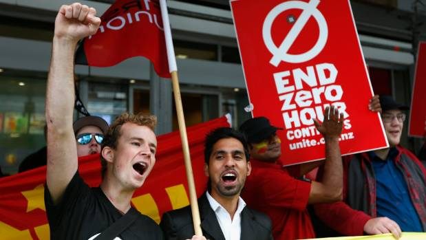 Protestors picket in Auckland last year against zero-hours contracts.