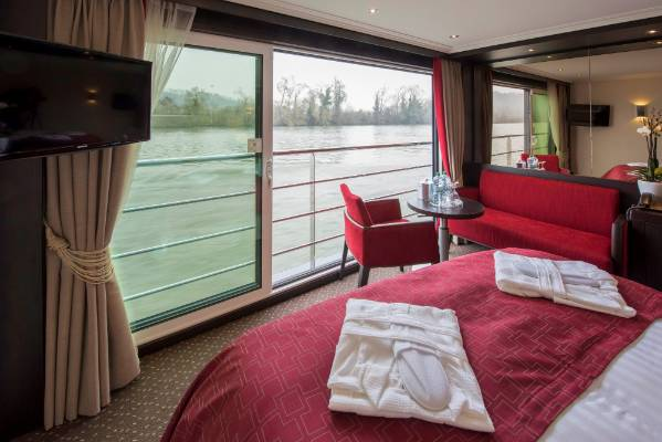 The ship's staterooms look out to the river, meaning you can lie in bed and watch the world go by.