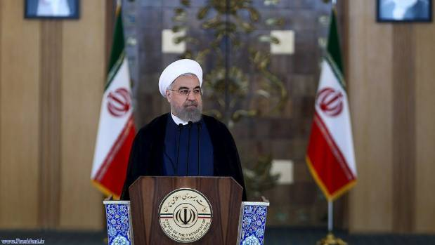 Iran's President Hassan Rouhani delivers a speech to the nation in Tehran, Iran, after a nuclear deal with major powers ...