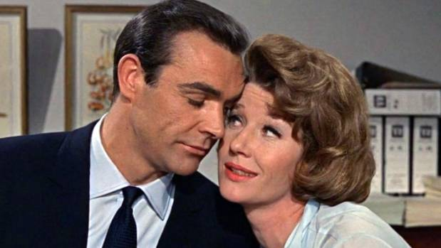 Lois Maxwell as Miss Moneypenny alongside Sean Connery as James Bond