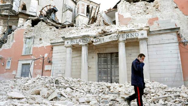 Earthquake damage in L'Aquila, Italy, in 2009. Fiona Farrell wondered how our experience compared.
