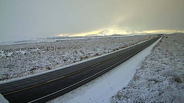 Snow settled on the Desert Road in July 2015.