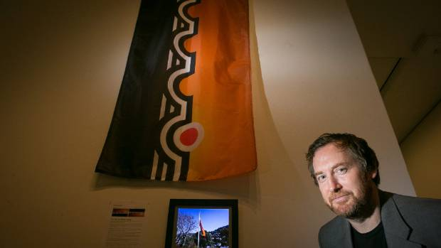 National contemporary Art Award judge Aaron Kreisler with the winning entry Pioneer City Flag