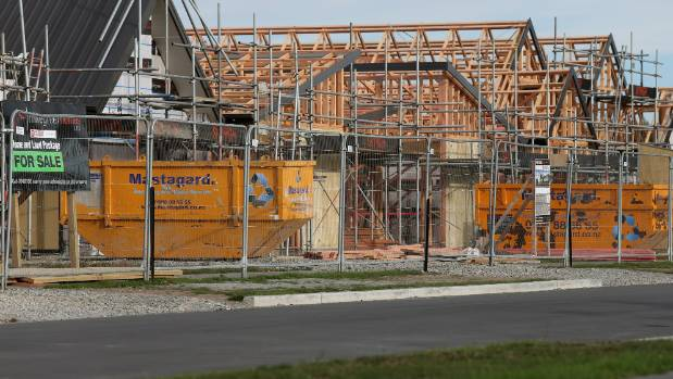 Houses under construction at the Prestons development in the north of Christchurch.