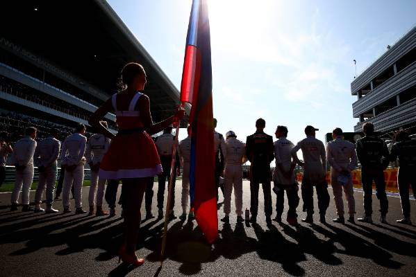 Drivers observe a moments silence for Jules Bianchi during the Russian Grand Prix at Sochi.