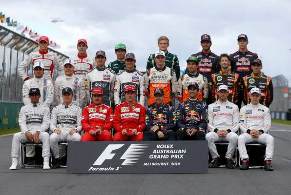 Formula One drivers pose for a photo prior to the start of the 2014 season in Melbourne. Jules Bianchi is second from ...