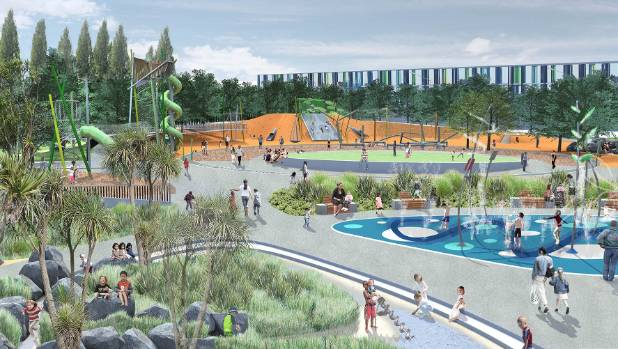 An artist's impression of the Margaret Mahy Playground.