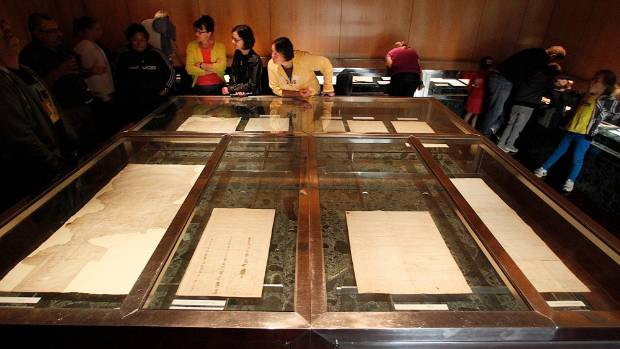 The Treaty of Waitangi, seen here on display, is New Zealand's founding document  and was signed in 1840.