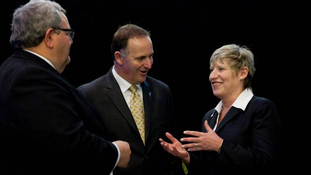 Christchurch Mayor Lianne Dalziel with Prime Minister John Key and Canterbury Earthquake Recovery Minister Gerry ...