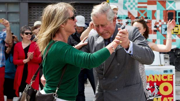 Prince Charles dances with Christchurch woman Lisa Shannon on the Dance-O-Mat during his visit in 2012.