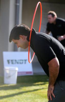 Reigning regional champion Brenton O'Riley works out a way to keep the hula hoop up during the Horty Sports Challenge.