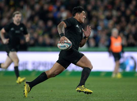 All Blacks midfielder Malakai Fekitoa on the break against the Springboks.