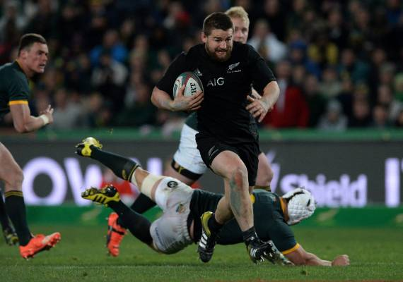 All Blacks hooker Dane Coles on the burst against South Africa.