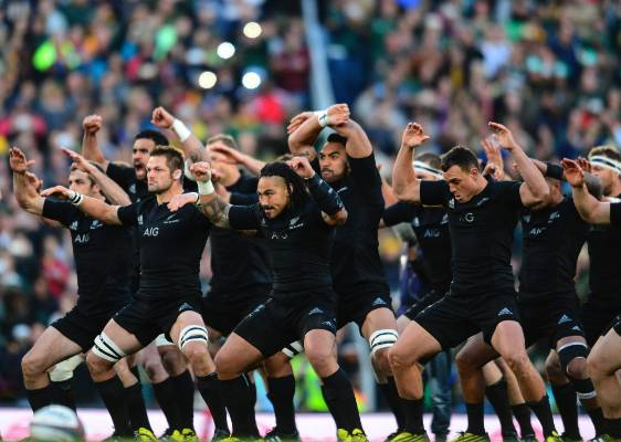 The All Blacks perform their Kapa O Pango haka ahead of the clash with South Africa at Ellis Park.
