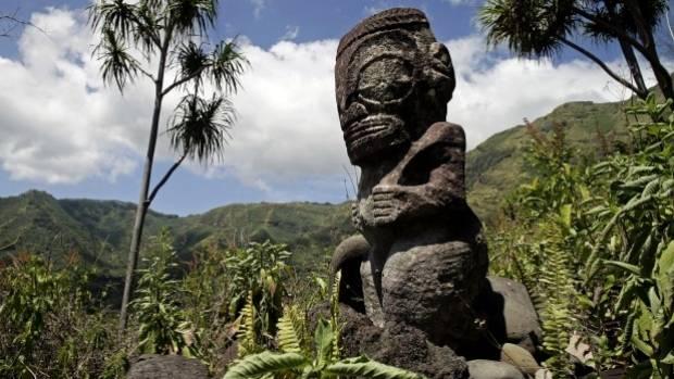 A tiki sculpture at Hiva Oa.