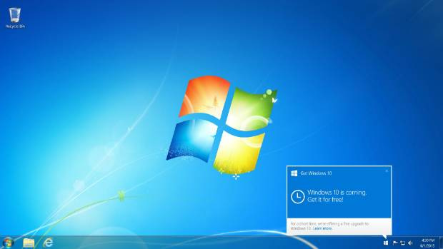 If you have the correct operating system, the Get Windows 10 app will appear on your screen.