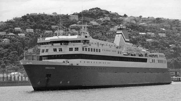 Arahura in Wellington Harbour on its maiden voyage in December 1983.