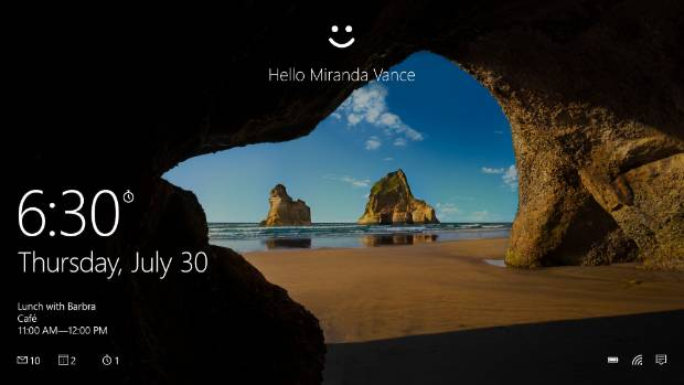 Windows Hello knows your face and can't be fooled by photos.