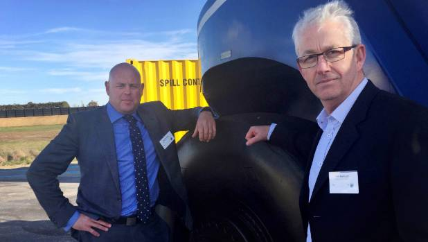 Timaru District mayor Damon Odey, left, and PrimePort chief executive Phil Melhopt attend the opening of Port of ...