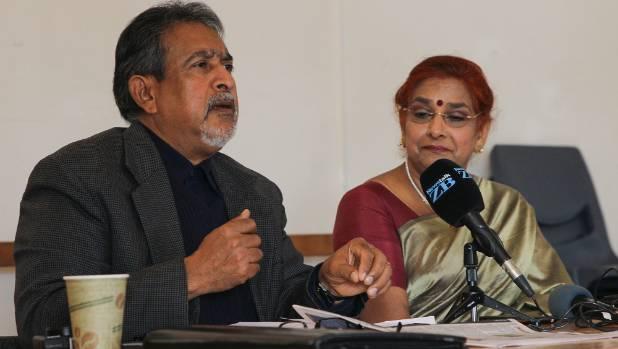Indian Community leaders Thakur Ranjit Singh and Pratima Nand speak at the meeting.