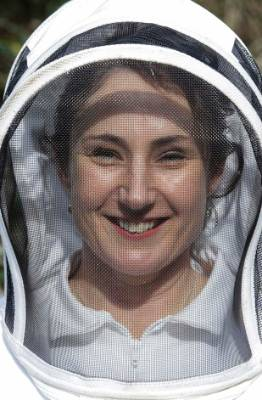 Wellington nurse, Sharon Mackie in her beekeeping suit.