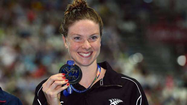 Lauren Boyle flashes a smile after claiming silver in the 1500m freestyle final at the world champs in Russia.