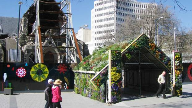 Rebuilding christchurch from a green blueprint stuff green whare an art installation wreathed in living plants in cathedral square is symbolic of malvernweather Images