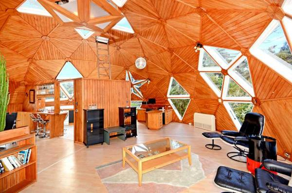 The interior is composed of triangles all built by hand.