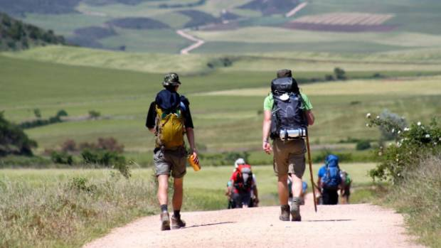 Pilgrims making their way across Spain in the  Walking the Camino documentary.