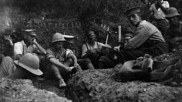 Soldiers occupying a trench during the Gallipoli campaign, 1915, probably from the Wellington Mounted Rifles, New ...