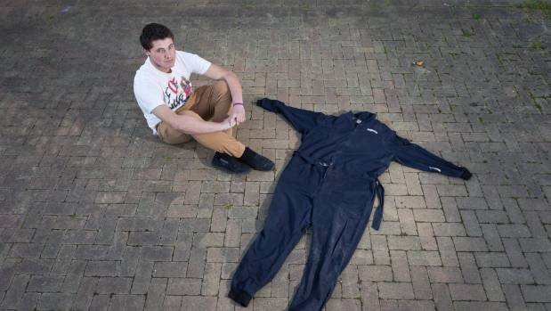 Keightley Teece, who lost over 70kg following surgery last year, with his 4XL overalls.