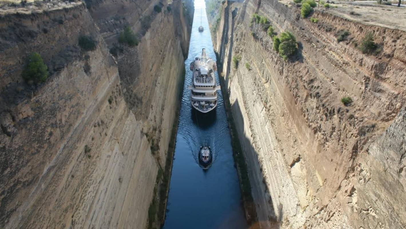 The Corinth Canal, which turned the Peloponnese peninsula into an island 38