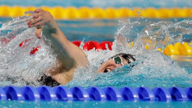 New Zealand's Lauren Boyle on her way to a silver medal in the women's 800m freestyle final in Kazan, Russia.