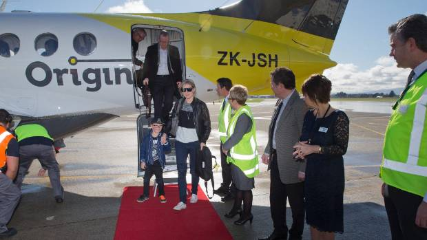 Originair's inaugural flight arrives at Palmerston North Airport. Miranda Monopoli gets off the plane with first-time ...