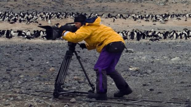 Peter Young filming on the coast of the Ross Sea in the Antarctica while surrounded by penguins.