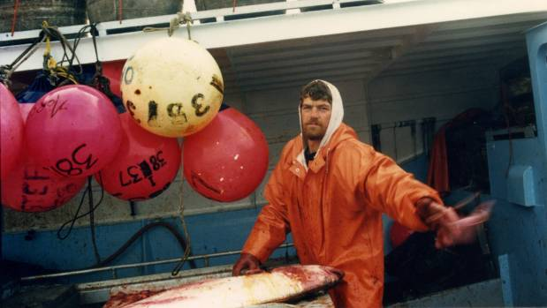 Peter Young fishing off the coast of Alaska at the age of 25.