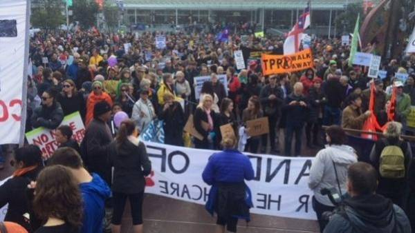 About 1000 have gathered in Wellington to protest the Trans-Pacific Partnership (TPP) agreement.