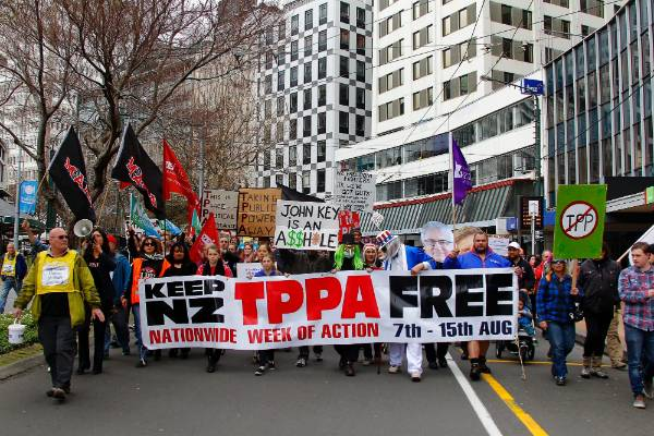 The TPPA has triggered protests around the country in the lead up to the agreement being signed off.
